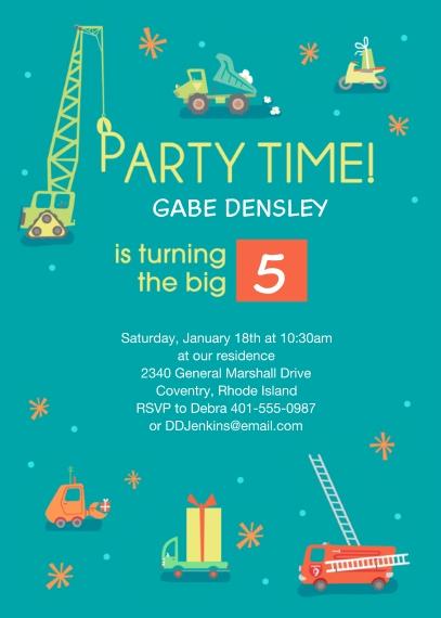 Kids Birthday Party 5x7 Cards, Premium Cardstock 120lb with Elegant Corners, Card & Stationery -Trucks