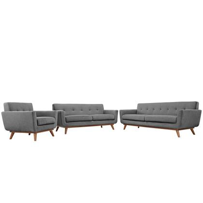 Engage Collection EEI-1349-GRY 3 PC Sofa  Loveseat and Armchair Set with Cherry Tapered Legs  Rubberwood Frame Construction  White Plastic Foot