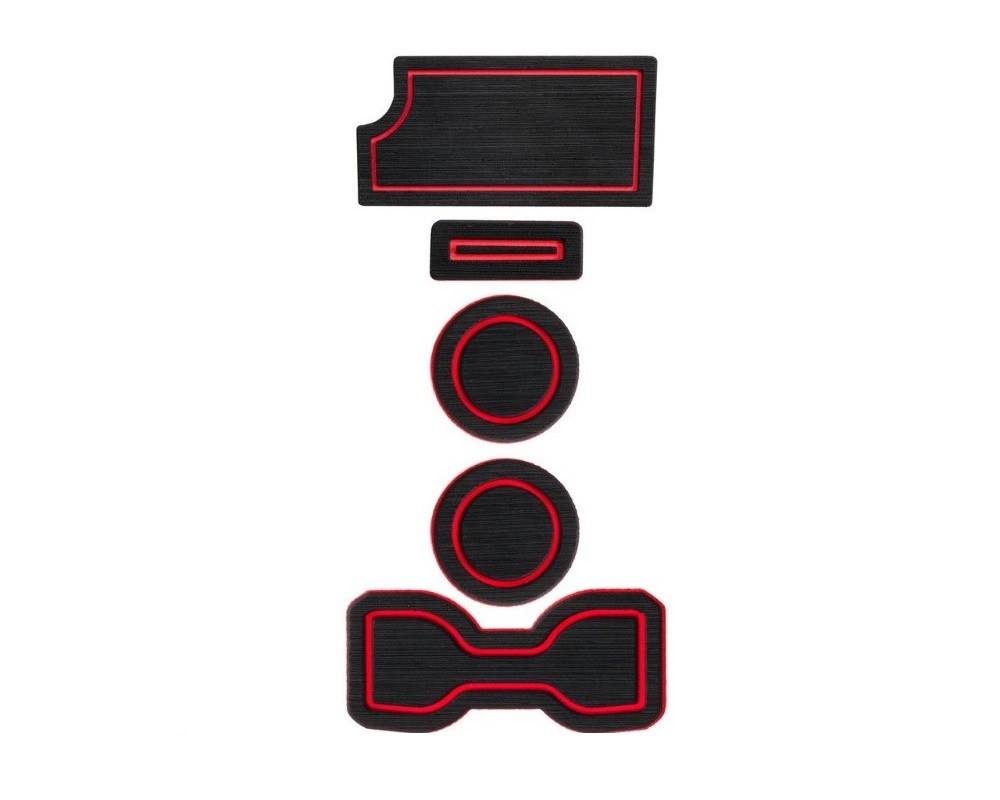 Tufskinz TAC010-FRD-X Interior Cup Holder Inserts Fits 2016-2020 Toyota Tacoma Manual Transmission Include Qi Charger Trim 6 Piece Kit In Black/Red