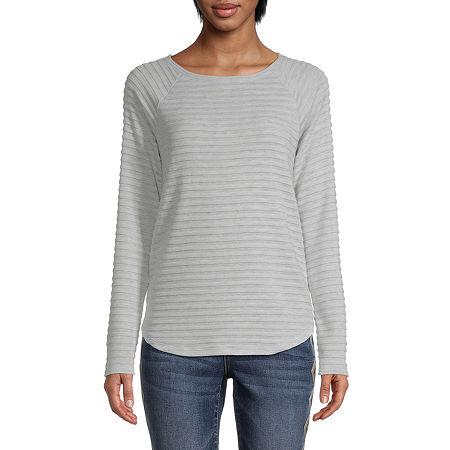 St. John's Bay Tall-Womens Round Neck Long Sleeve T-Shirt, Medium Tall , Gray