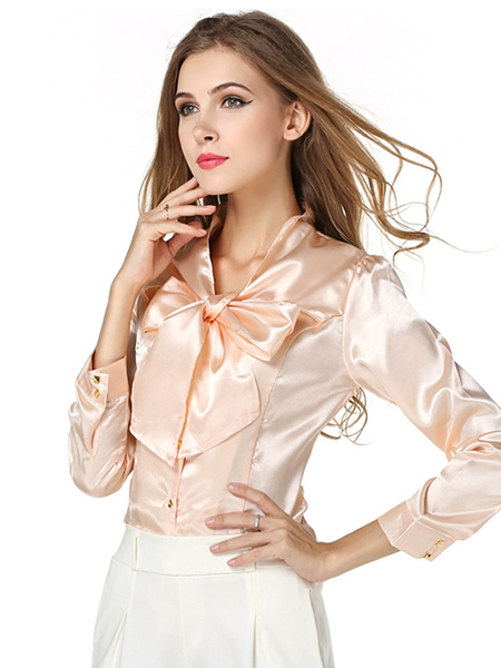 Milanoo Burgundy Bow Tie Polyester Blouse For Women