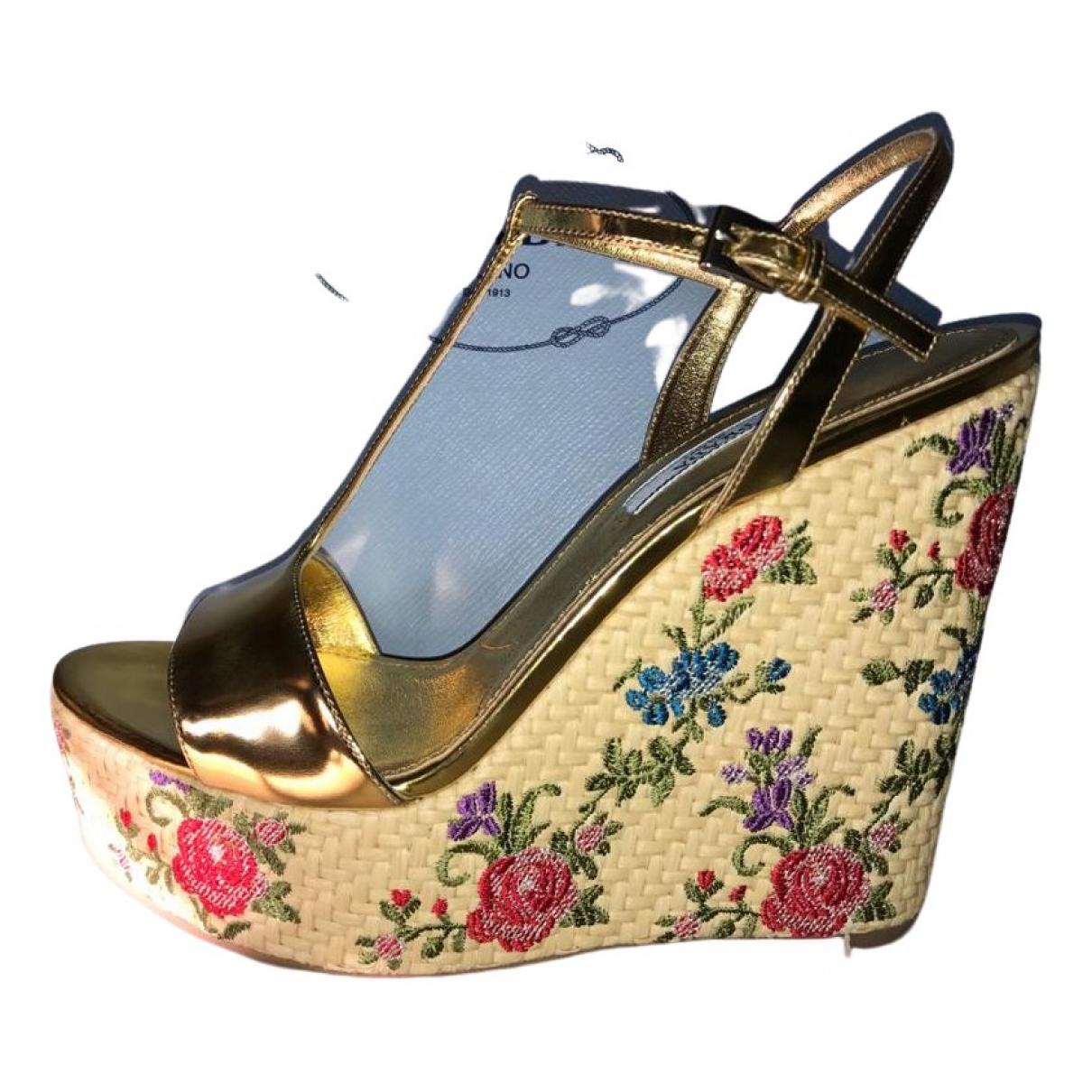 Prada \N Gold Leather Sandals for Women 38.5 EU