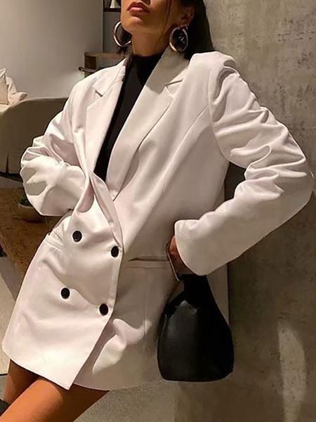 Milanoo Blazer For Women White Turndown Collar Long Sleeve Casual Blazers