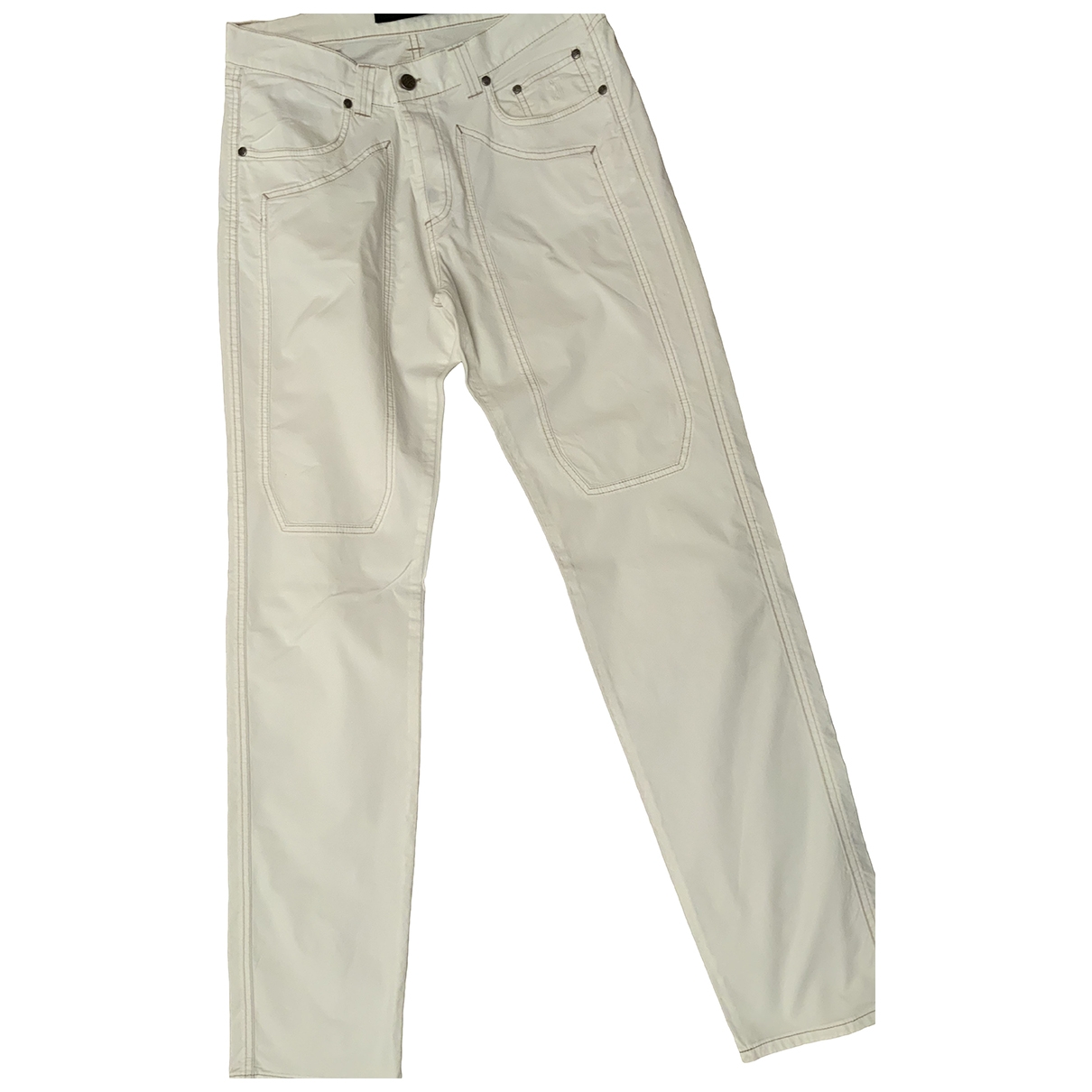 Non Signé / Unsigned \N White Cotton Trousers for Men 34 UK - US