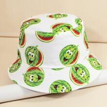Cartoon Watermelon Print Bucket Hat