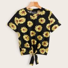 Camiseta con estampado de girasol bajo con nudo