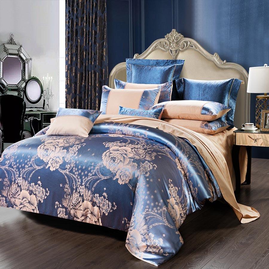 Floral in Full of Bloom Jacquard Satin 4-Piece Bedding Sets/Duvet Cover