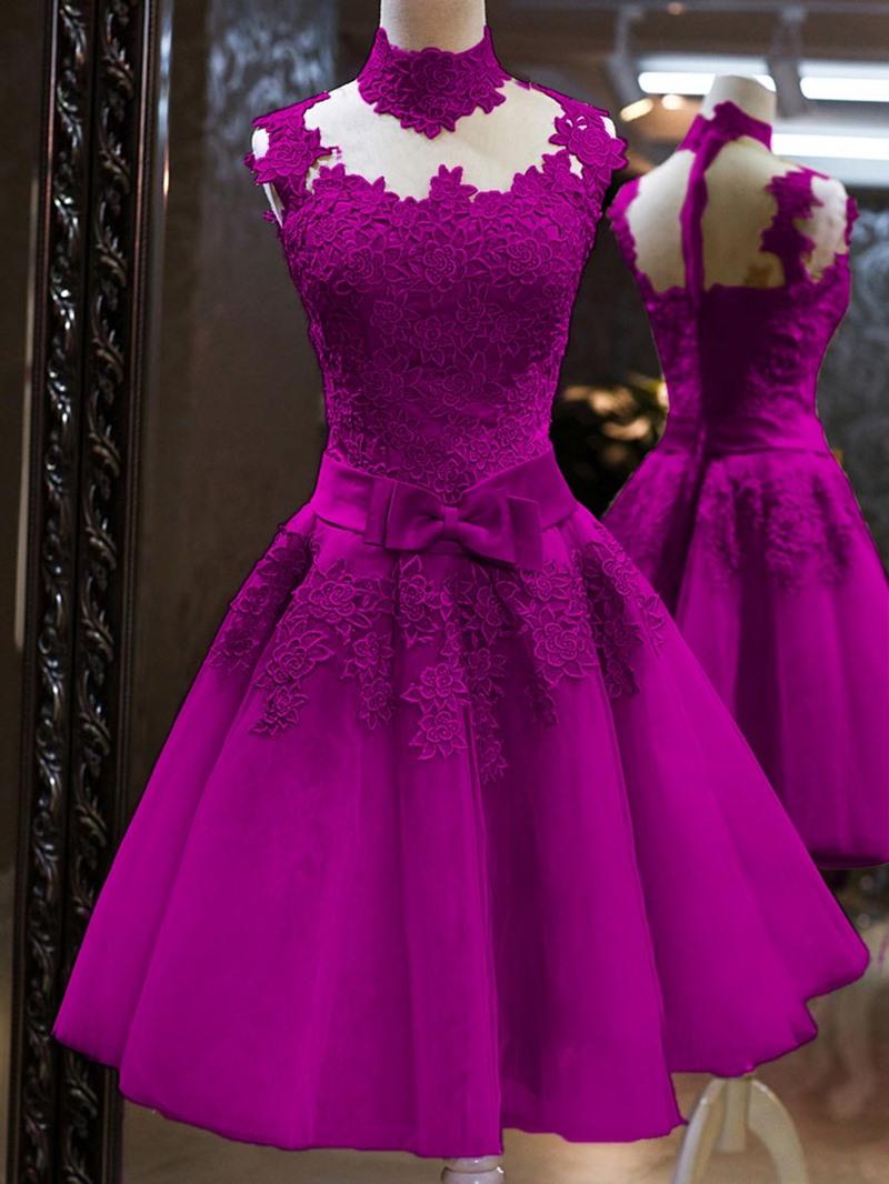 Ericdress High Neck Bowknot Cocktail Dress