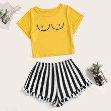 Schlafanzug Set mit Grafik Muster und Streifen
