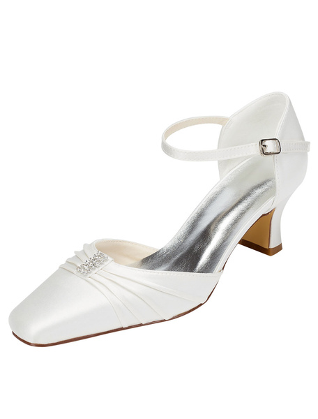 Milanoo Zapatos de novia de seda sintetica Zapatos de Fiesta de tacon gordo Zapatos marfil  Zapatos de boda de puntera cuadrada 5.5cm con pliegues