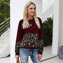 Sweatshirt mit Leopard Muster, Farbblock und Kordelzug