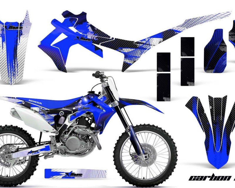 AMR Racing Dirt Bike Graphics Kit Decal Sticker Wrap For Honda CRF250R 2014-2017áCARBONX BLUE