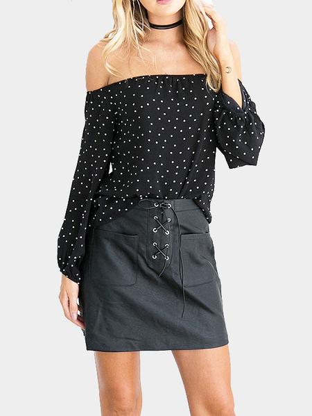 Yoins Dot Print Off-The-Shoulder Blouse in Black