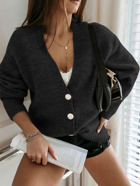 Milanoo Women Sweaters Cardigans Black Wool Buttons Long Sleeves Cardigans