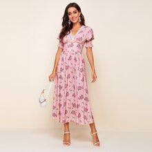 Shirred Puff Sleeve Lace Trim Floral & Polka Dot Print Dress