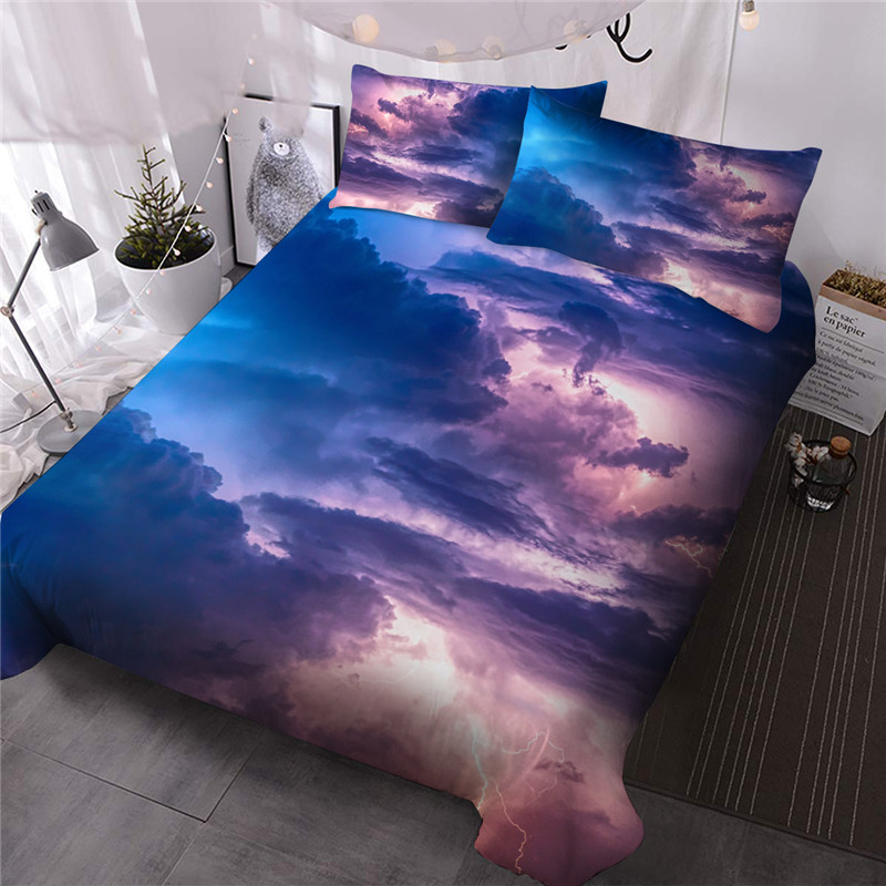 Cloud Three-Piece Set Reactive Printing Comforter Set Polyester Bedding Sets Comforter 2 Pillowcases