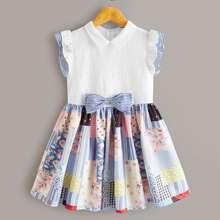 Girls Bow Detail Ruffle Trim Schiffy Bodice Patchwork Dress