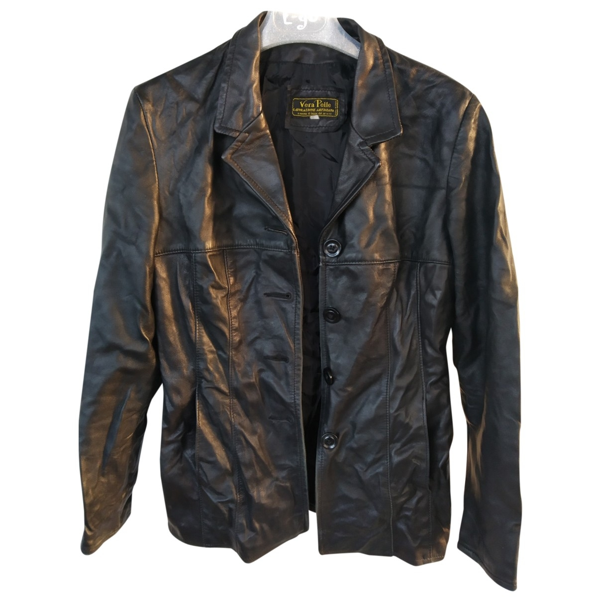 Non Signé / Unsigned \N Black Leather Leather jacket for Women XS International