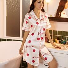 Satin Polka Dot And Letter Graphic Night Dress