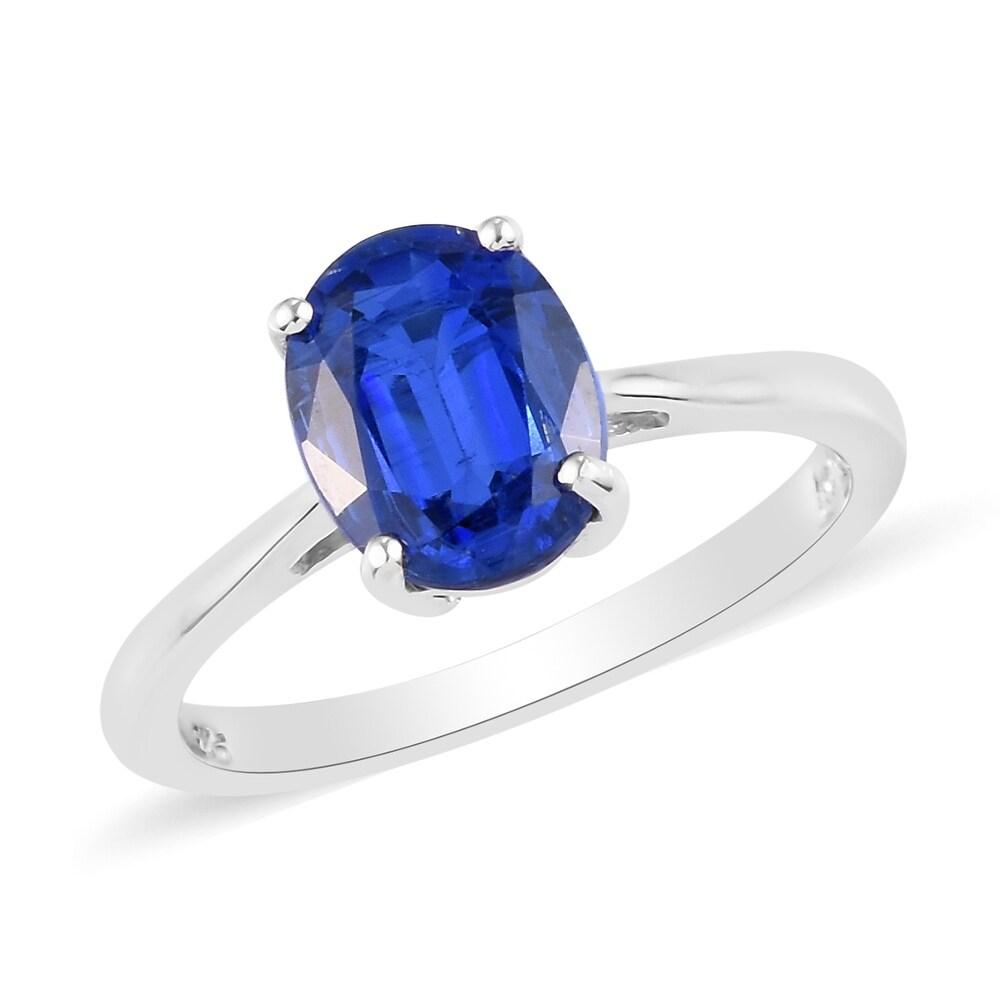 Platinum Over 925 Sterling Silver Kyanite Solitaire Ring Size 8 Ct 2.4 - Ring 8 (Kyanite - Ring 8)