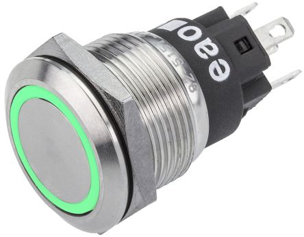 EAO Single Pole Double Throw (SPDT) Momentary Green LED Push Button Switch, IK10, IP65, IP67, 19 (Dia.)mm, Panel Mount,