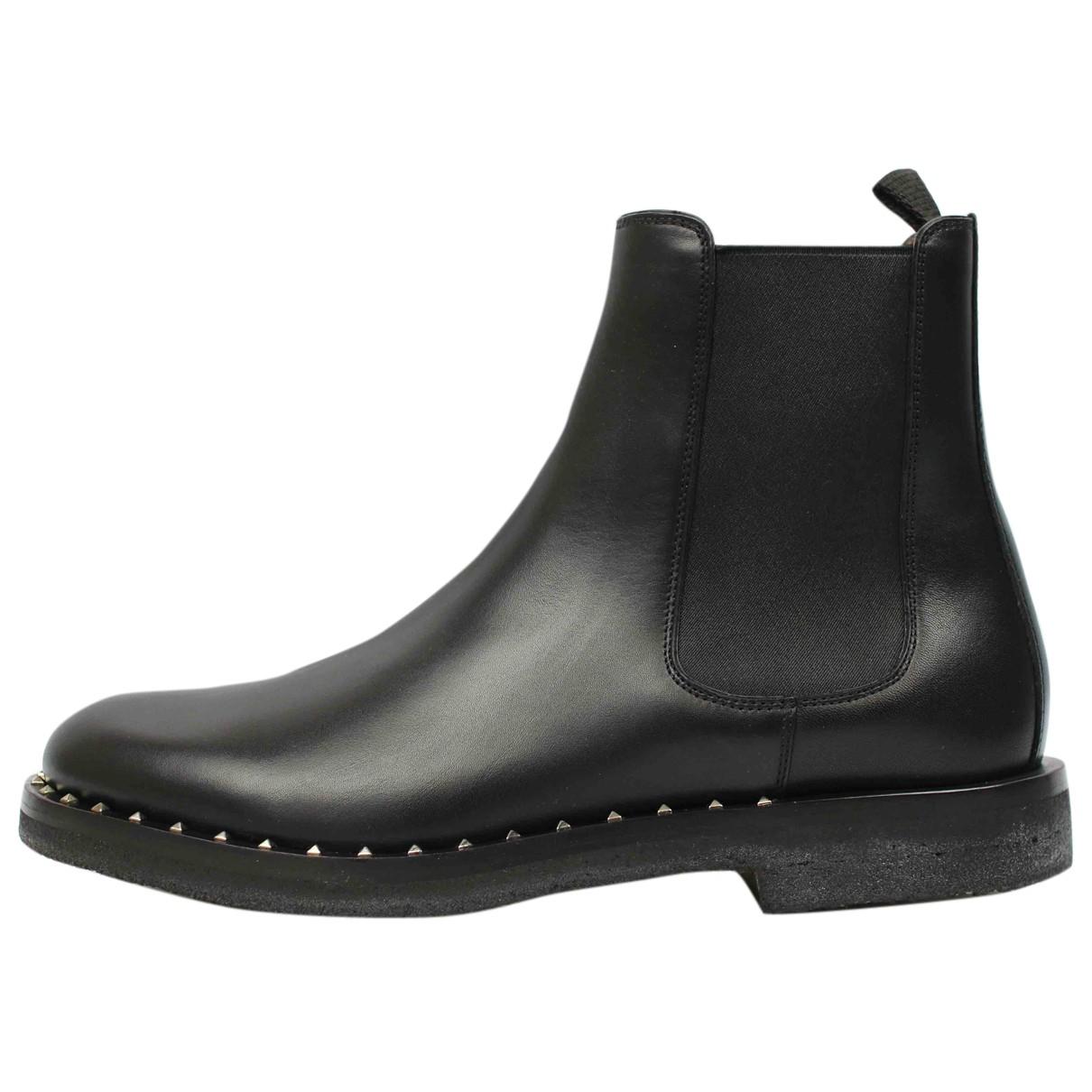 Valentino Garavani - Bottes.Boots   pour homme en cuir - noir