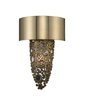 Ciottolo 034220-038-FR001 2-Light Wall Sconce in Brushed Champagne Gold Finish with Firenze Clear