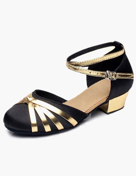 Milanoo Ankle Strap Satin Ballroom Shoes