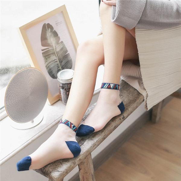 Women Lace Crystal Glass Silk Socks Short Thin Transparent National Style Socks