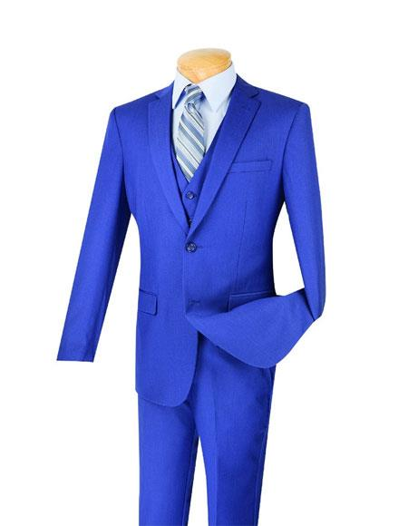 Men's Indigo Blue 3 Piece Slim Fit Notch Lapel Suit Pleated Pant