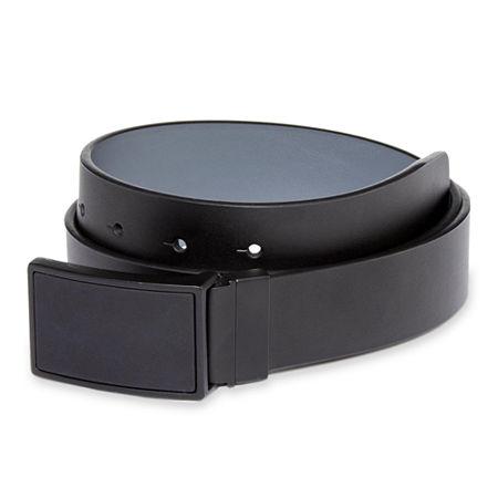 JF J Ferrar Plaque Buckle Reversible Leather Belt, 32 , Black