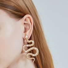 Faux Pearl Snake Drop Earrings