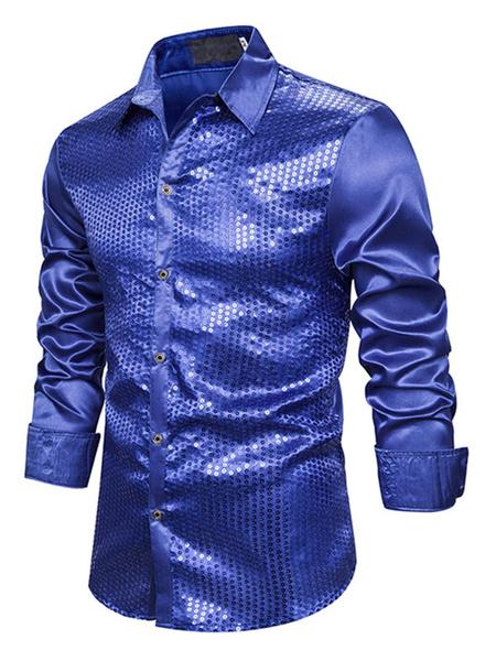 Milanoo Dress Shirts Men\\'s Shirts Man\'s Dress Shirt Casual Turndown Collar Long Sleeves Street Wear Red Blond
