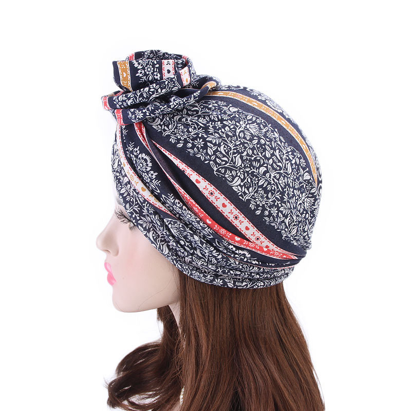 Womens Ethnic Style Beanies Cap Casual Cotton Solid Bonnet Hat