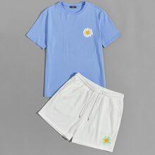 Men Daisy Floral Print Top & Track Shorts Set