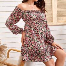 Maternidad vestido floral de margarita ribete fruncido de hombros descubiertos