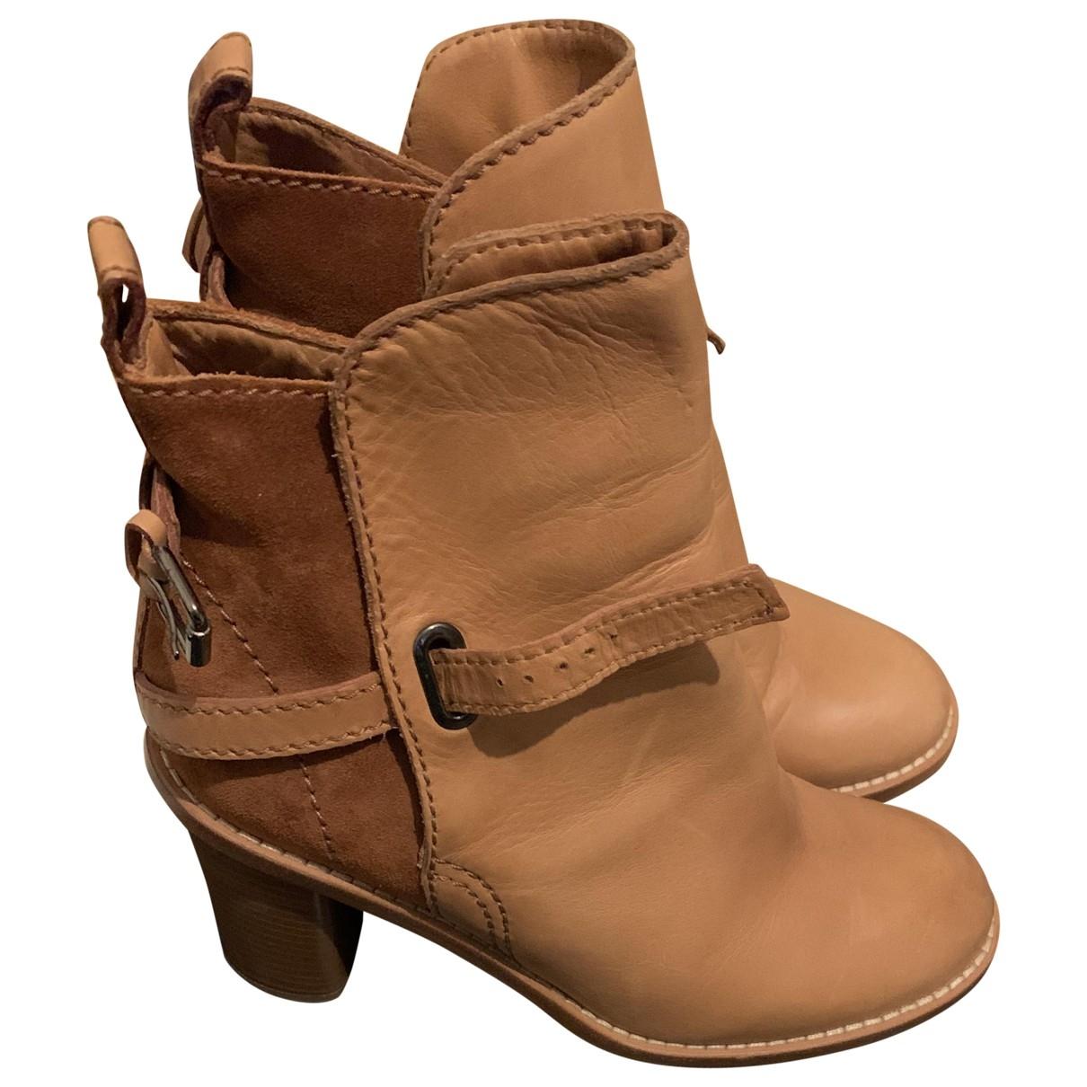 Acne Studios - Boots Cypress pour femme en cuir - beige