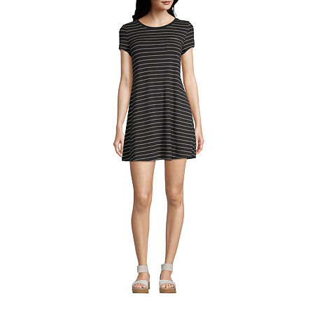 Arizona-Juniors Freeform Short Sleeve Striped Swing Dresses, X-large , Black