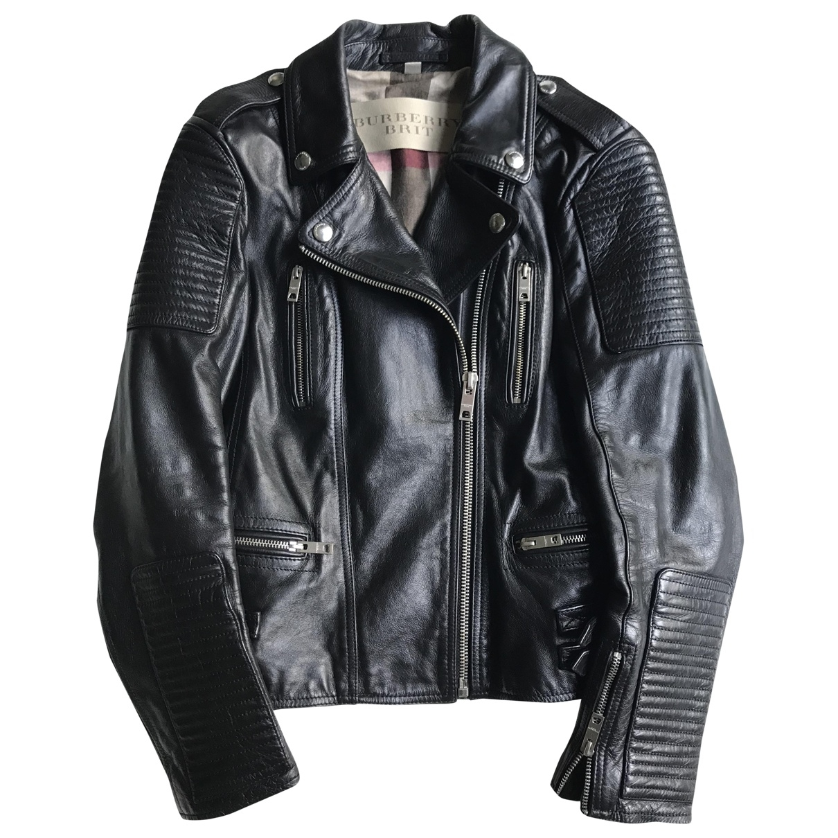 Burberry \N Black Leather jacket for Women 12 UK