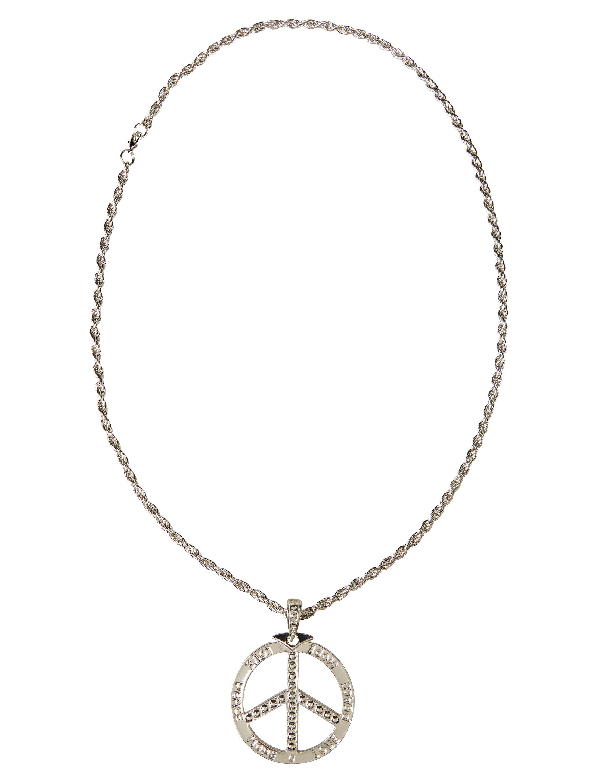 Kostuemzubehor Halskette mit Peacezeichen silber