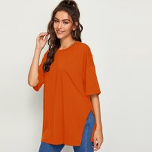 Orange Geteilt  Einfarbig Laessig T-Shirts