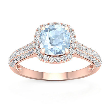 Womens 1/2 CT. T.W. Genuine Blue Aquamarine 10K Gold Cocktail Ring, 8 , No Color Family