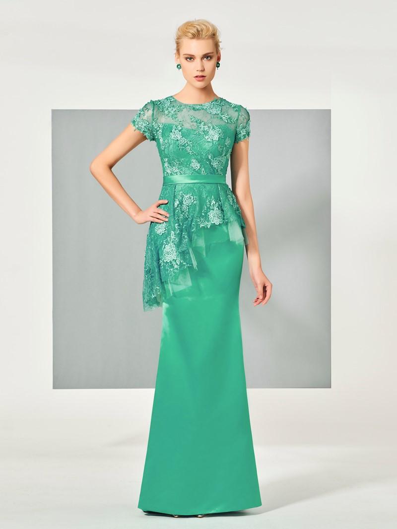 Ericdress Sheath Short Sleeve Lace Applique Floor Length Evening Dress