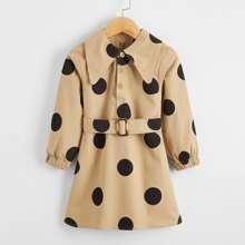 Toddler Girls Polka Dot Self Belted Shirt Dress