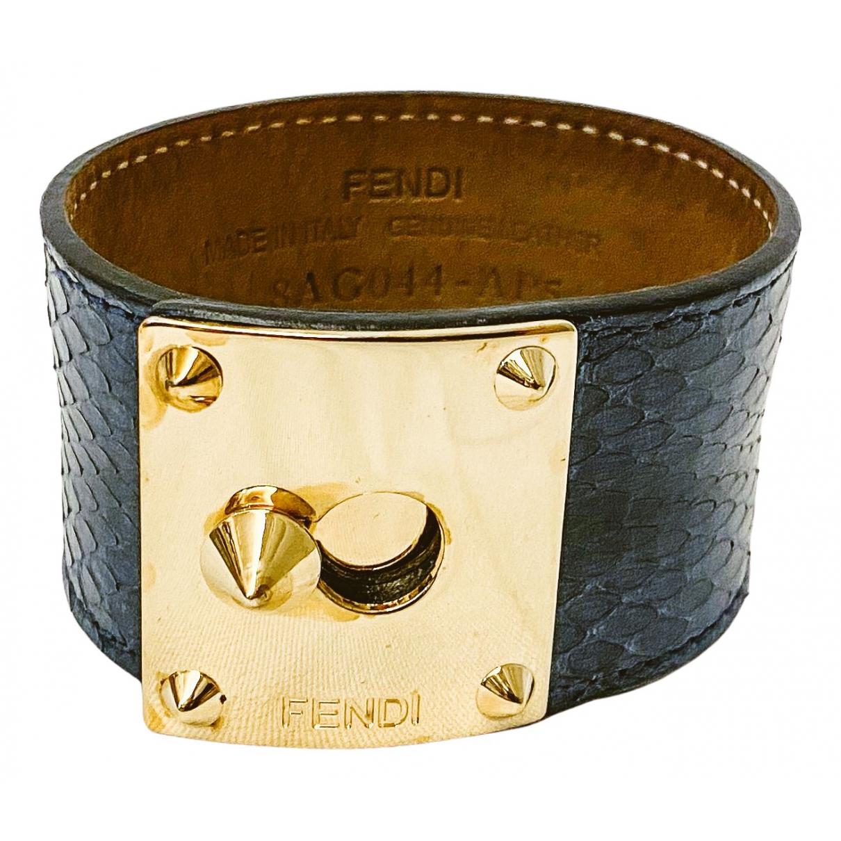Fendi - Bracelet Serrure pour femme en serpent deau - bleu
