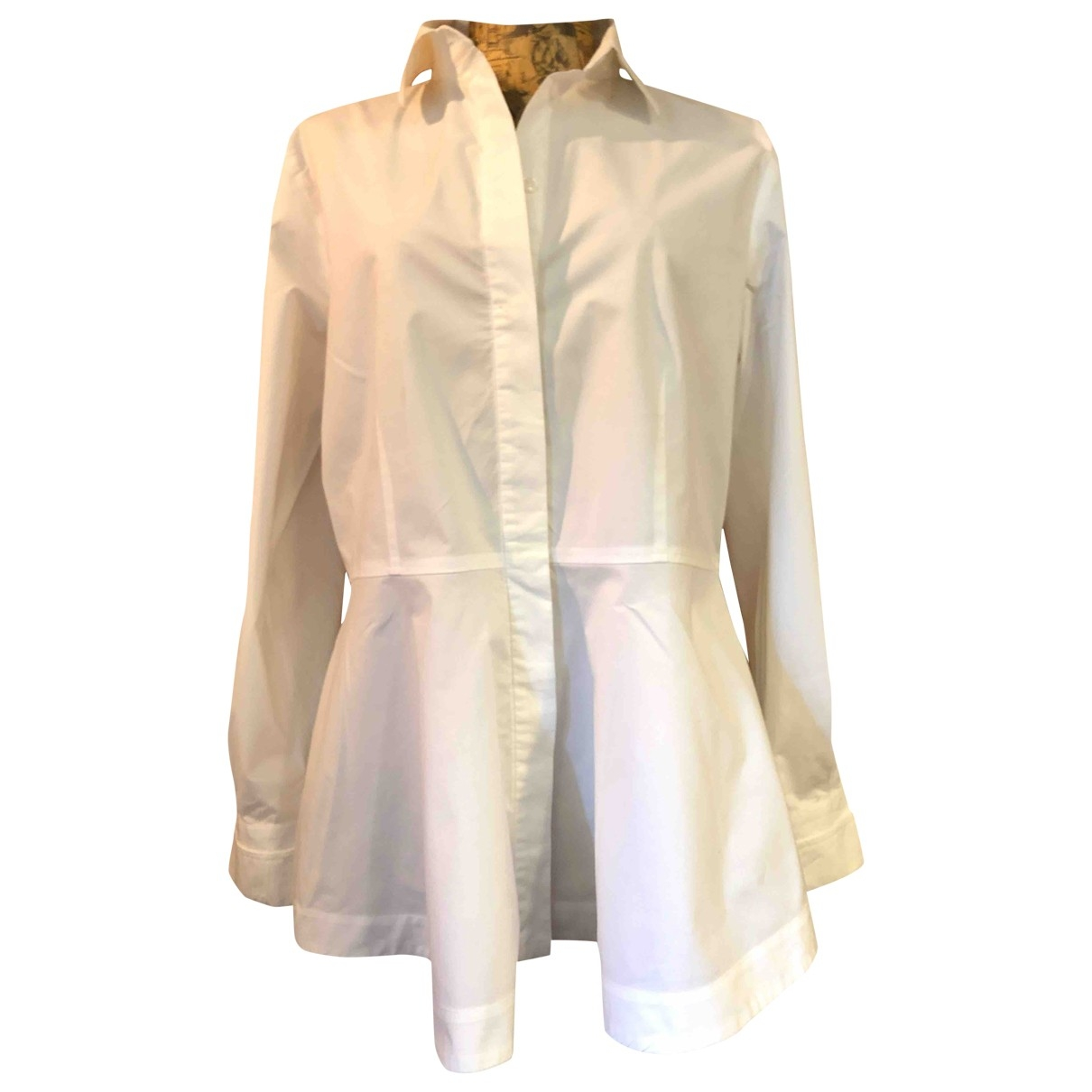 Non Signe / Unsigned Epaulettes Top in  Weiss Baumwolle