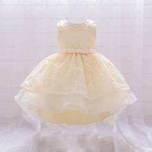Toddler Girls Solid Pearls Detail Tiered Hem Gown Dress