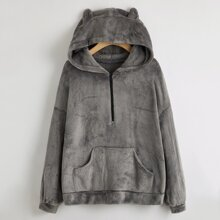 Half Zip Kangaroo Pocket Flannel Ear Hoodie