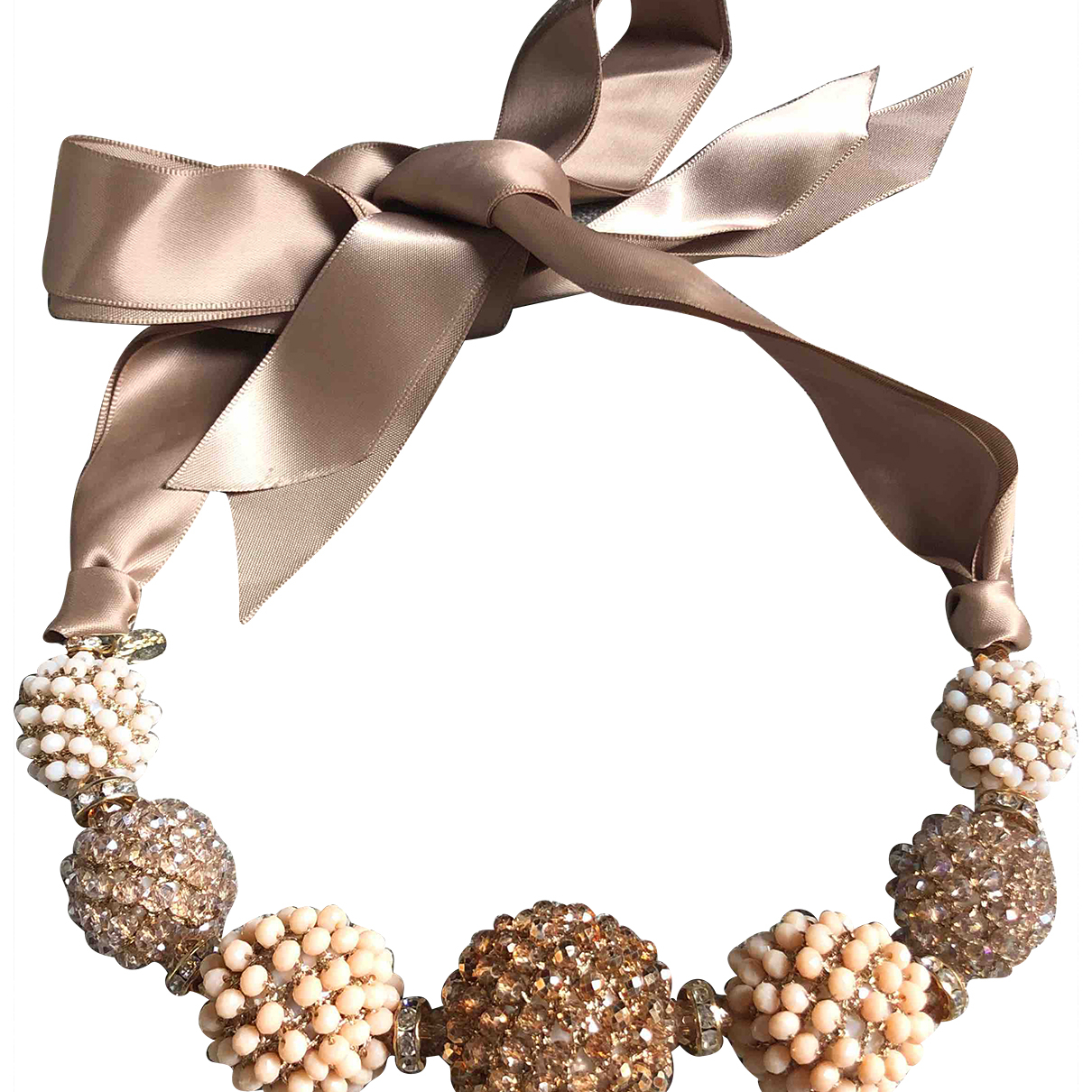 Non Signe / Unsigned \N Kette in  Beige Kristall