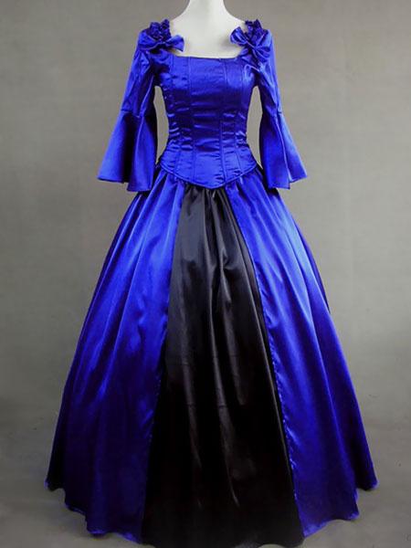 Milanoo Victorian Dress Costume Blue Satin Ruffle Ball Gown Victorian era clothing Halloween